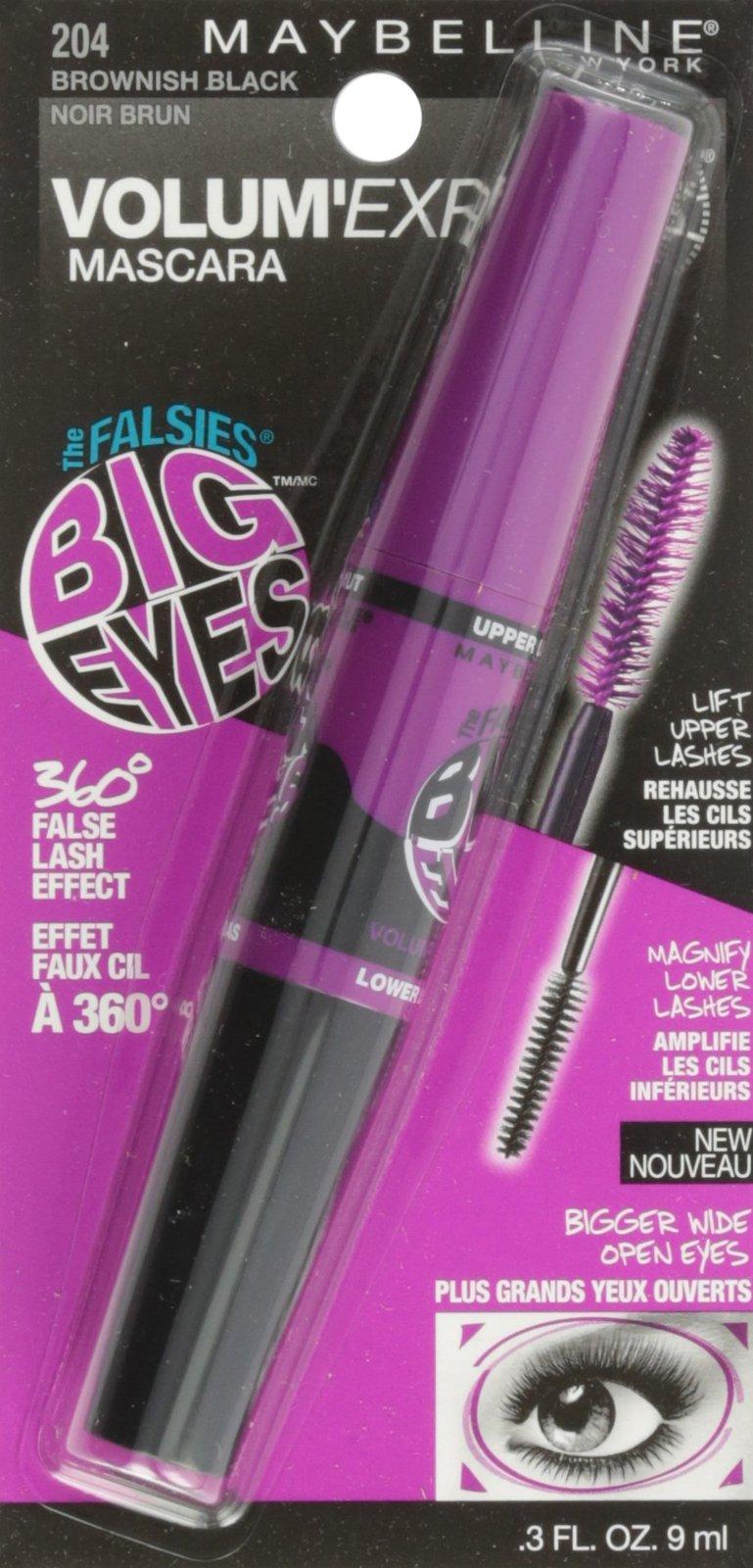 Maybelline New York Volum Express Falsies Big Eyes Washable Mascara, Brownish Bl