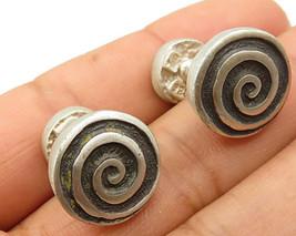 925 Sterling Silver - Vintage Swirl & Love Heart Detail Cuff Links - T1181 - $43.22