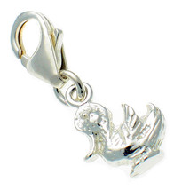 Sterling 925 Solid Silver British Charm Small Duck Duckling Clip On - $14.92