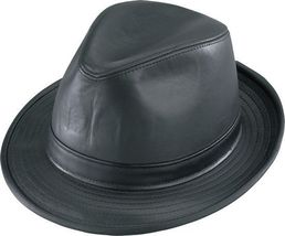 Henschel Smooth Leather High Roller Fedora Satin Lined Made In USA Black - $76.00
