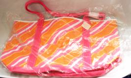 Bath & Body Works Beach Shopping Bag Pink & Orange Canvas 18 X 11  - $7.90