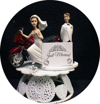 B Ride L Ovin Red Bmw Motorcycle Wedding Cake Topper Bike Funny Groom Top Only 1 - $59.28