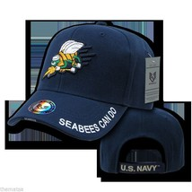 NAVY SEABEES CAN DO LOGO EMBROIDERED BLUE MILITARY HAT CAP - $31.58