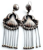 Longest Navajo Sadie Calvin Vintage Earrings Sterling Silver Shoulder Du... - $900.00