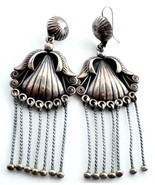 Longest Navajo Sadie Calvin Vintage Earrings Sterling Silver Shoulder Du... - $1,109.54 CAD