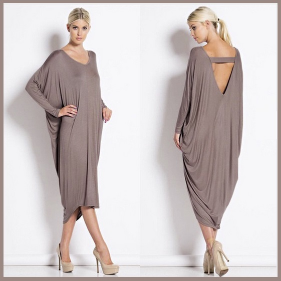 Primary image for Long Solid Color Loose Euro Draped Sleeves Scoop Neck V Back Midi Lounger Dress