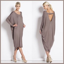 Long Solid Color Loose Euro Draped Sleeves Scoop Neck V Back Midi Lounger Dress