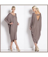 Long Solid Color Loose Euro Draped Sleeves Scoop Neck V Back Midi Lounge... - $38.95