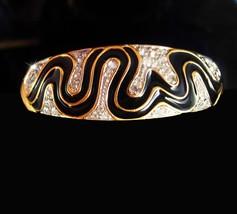 Cleopatra's delight Snake Bracelet Trifari bangle Enamel & Rhinestone bracelet - $85.00