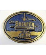SECURITY BRONZE BELT BUCKLE OIL DRILLING ADVERTISING FREE SHIPPING - $19.79