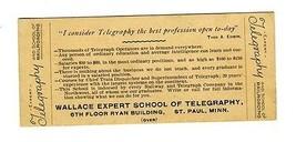 Wallace Expert School Telegraphy & Railroading St Paul Minnesota 1900 Mo... - $34.65