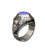 US MARINE CORPS RING MENS TRADITIONAL-Silvertone - $295.00