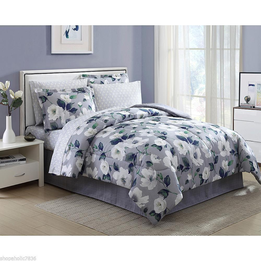 Complete Bedroom Sets: Beautiful Floral 8 Piece Complete Bed Set Gray Grey White