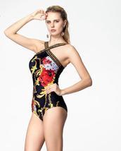Womens Famous Brand Designer Criss Cross Halter Fluores One Piece Swimsuit image 3