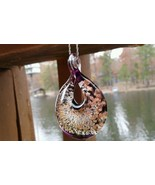 Amber Sparkle Drop Pendant with Hollow Center Italy Murano Glass Hand Blown - $29.95