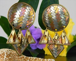 Vintage Mixed Metal Dangle Earrings Woven Brass Copper Silver India - $18.95