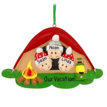Pop Up Tent Face Family of 3 Personalize Christmas Ornament Camping Pres... - $14.78