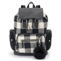 Mudd Callie Black & White Buffalo Plaid Check Backpack School Book Bag -... - $44.99