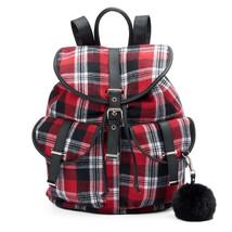 Mudd Quinn Red & Black & White Plaid Backpack School Book Bag - NWT - $44.99