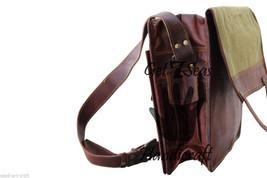 Leather Messenger bag men's satchel shoulder women briefcase laptop vintage bags image 4