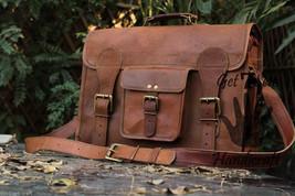Leather Messenger bag men's satchel shoulder women briefcase laptop vintage bags image 2