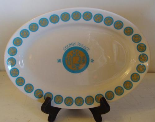 "Vintage Jackson Restaurant Ware China 11 1/2"" Platter Golden Palace Blue Gold"