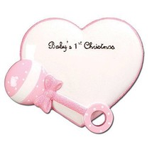 PERSONALIZED CHRISTMAS ORNAMENT-BABY'S FIRST-BABY RATTLE/HEART-PINK - $9.83