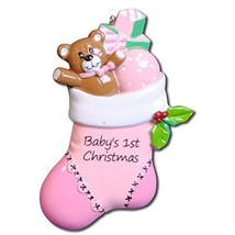 Baby First Christmas Stocking Personalized Ornament Little Bear Gift Box... - $11.81