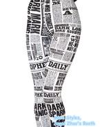 Daily Newspaper Print Gym Yoga Leggings Women Fashion Newsprint Workout ... - $21.99