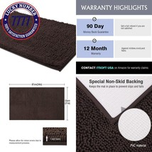 Itsoft Non-Slip Shaggy Chenille Soft Microfibers Bathroom Rug With Water... - $24.57