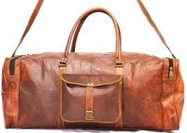 "28"" Vintage Mens Duffle Brown Leather Bag Gym Overnight Luggage Shoulder... - $79.85"