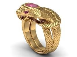 Snake Men's Ring in Solid 14 k Gold wih Genuine... - $2,795.00