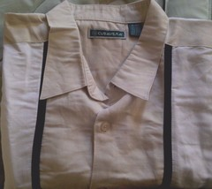 NWT Cubavera Men's Casual/Dress Shirt Ivory with Black Sizes XL/2XL Shor... - $16.99