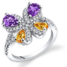 Women's Sterling Silver Amethyst and Citrine Butterfly Ring - £74.80 GBP
