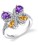 Women's Sterling Silver Amethyst and Citrine Butterfly Ring - £75.58 GBP