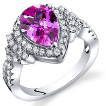 Women's Sterling Silver Pear Shape Pink Sapphire Halo Ring - $99.99