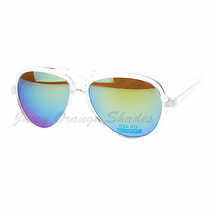 Plastic Aviator Sunglasses Clear Frame Multicolor Mirror Lens - $8.95
