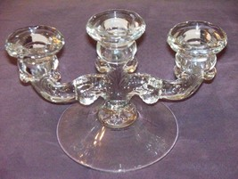 1920/1930's Ornate FOSTORIA TRIPLE Crystal Candle/Candlestick Holder Art... - $34.99