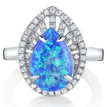 Women's Sterling Silver Tear Drop Blue Opal Halo Ring - $124.92 CAD