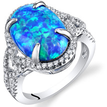Women's Sterling Silver Oval Blue Opal Halo Ring - $124.92 CAD