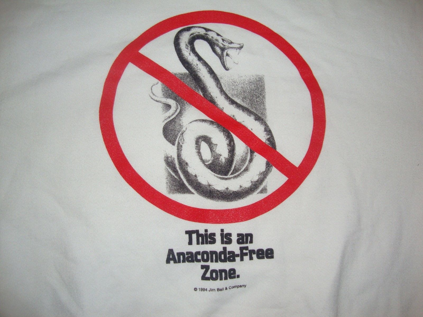 Primary image for Vintage This is a Anaconda Free Zone Deadly Snake 1994 Rare Sweatshirt Size XL