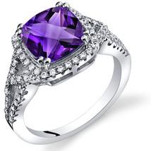 Women's Sterling Silver Cushion Cut Halo Amethyst Ring - $162.40 CAD