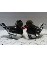 Two Vintage Art Glass Blown Glass Fat Birds // Figurines // Paper weights - $16.00