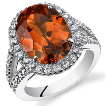 Women's Sterling Silver Padparadscha Sapphire Oval Halo Ring with Split ... - $229.99