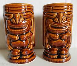 Pair of 2 Tiki Mugs Cups Brown Ceramic Hawaiian Double Sided - $29.69