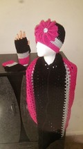 Black, Gray & Pink Handmade Crochet Hat, Cowl &... - $79.38 CAD