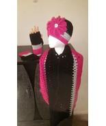 Black, Gray & Pink Handmade Crochet Hat, Cowl &... - $48.00