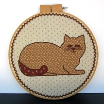 Brown Neutral Tone Quilt Embroidery Hoop Cat Lovers Art Cottage Contempo... - $21.38