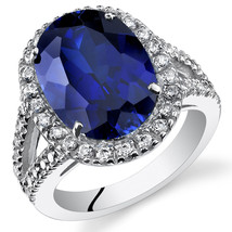 Women's Sterling Silver Oval Halo Blue Sapphire Cocktail Ring - $229.99