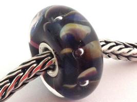 Authentic Trollbeads Murano Glass Flowers on Indigo (D) Bead Charm, 61404 New - $23.74